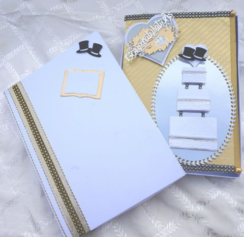 Gay Same Sex Wedding Day Card A4 Hand Made Boxed Keepsake With Top Hats and Cake